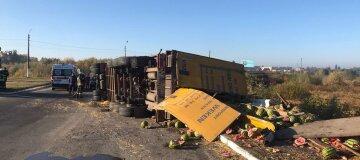 Арбузы засыпали трассу: фура перевернулась в Киевской области - видео