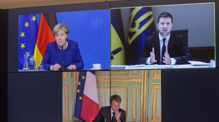 Зеленський, Макрон та Меркель поговорили про досягнення миру на Донбасі
