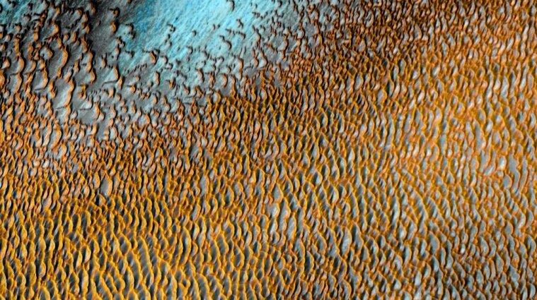 Голубые, желтые и оранжевые дюны: NASA опубликовала изображение поверхности Марса