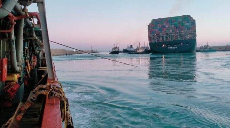 Ever Given зсунули з мілини у Суецькому каналі