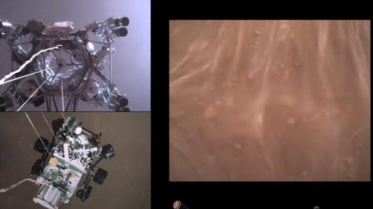 NASA опубликовало видео посадки планетохода на поверхность Марса