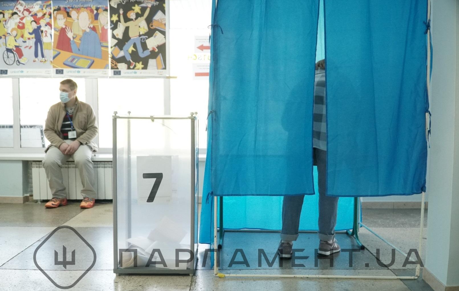Вибори 2020 року, скринька для бюлетенів та виборець у кабінці для голосування
