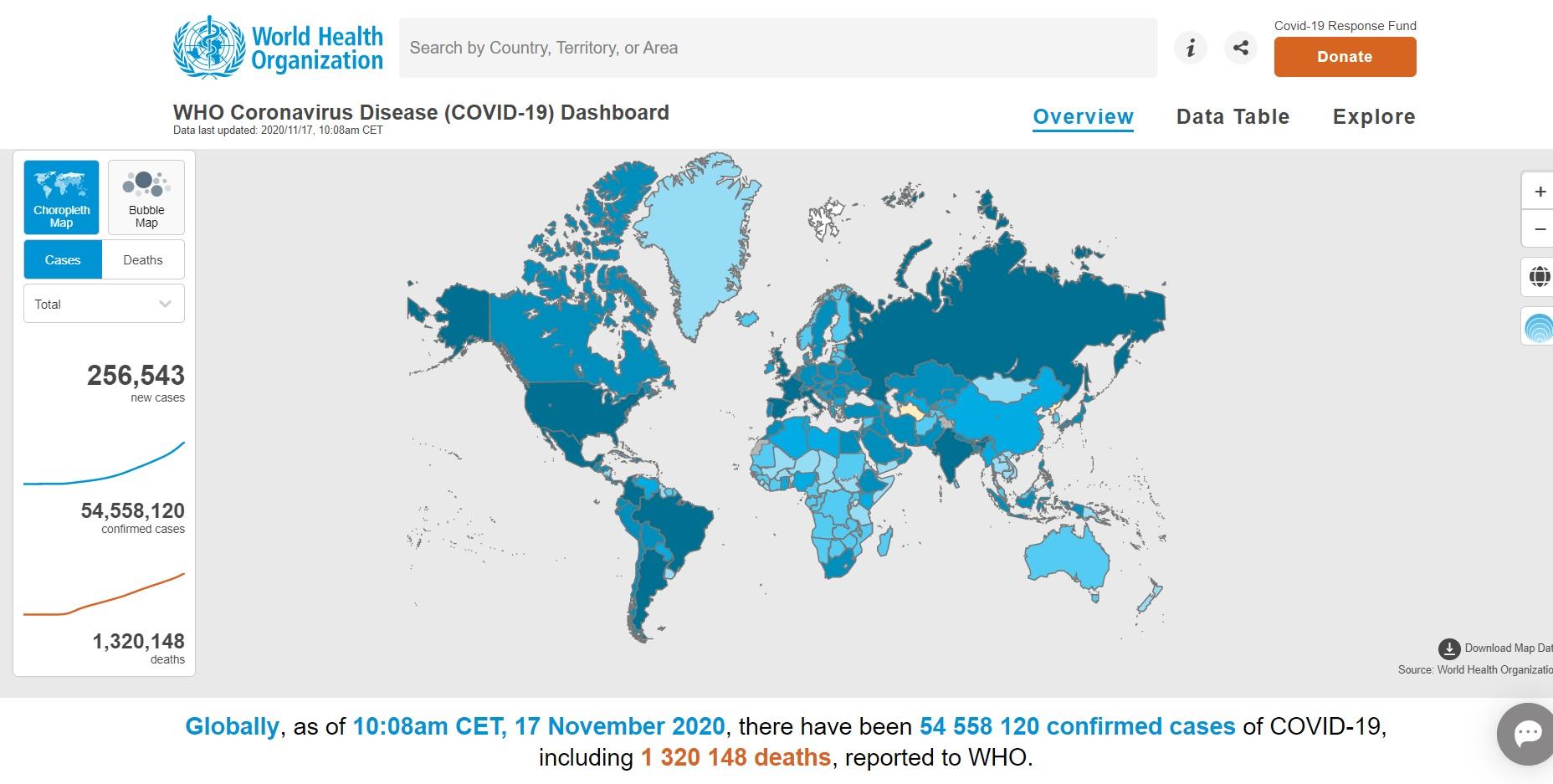 Кількість хворих на коронавірус у світі