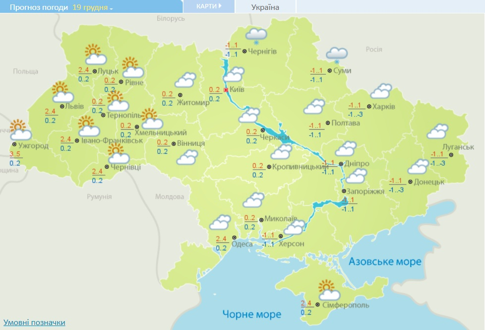 Погода на 19.12